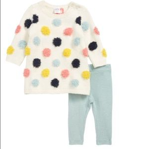 Nordstrom Baby dotted sweater dress and leggings